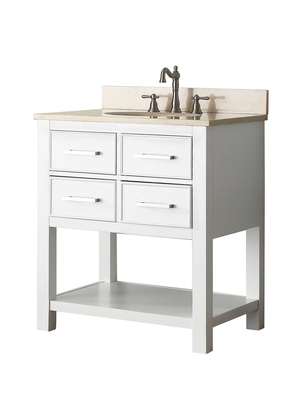 "31"" Begonia Single Bath Vanity - White - Chilled Gray with Galala Beige Marble Top"