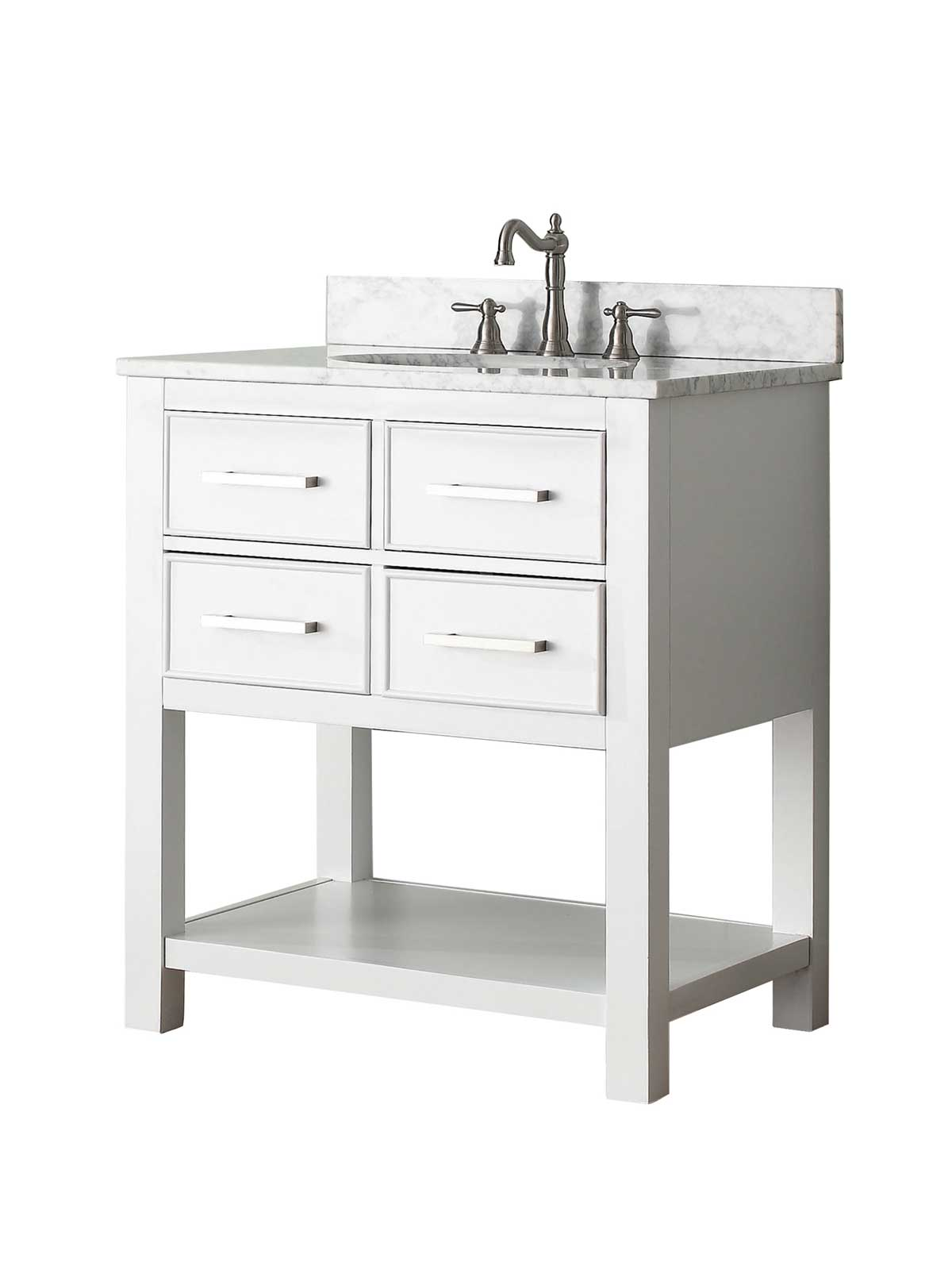 "31"" Begonia Single Bath Vanity - White - Chilled Gray with Carrara Chilled Gray Marble Top"