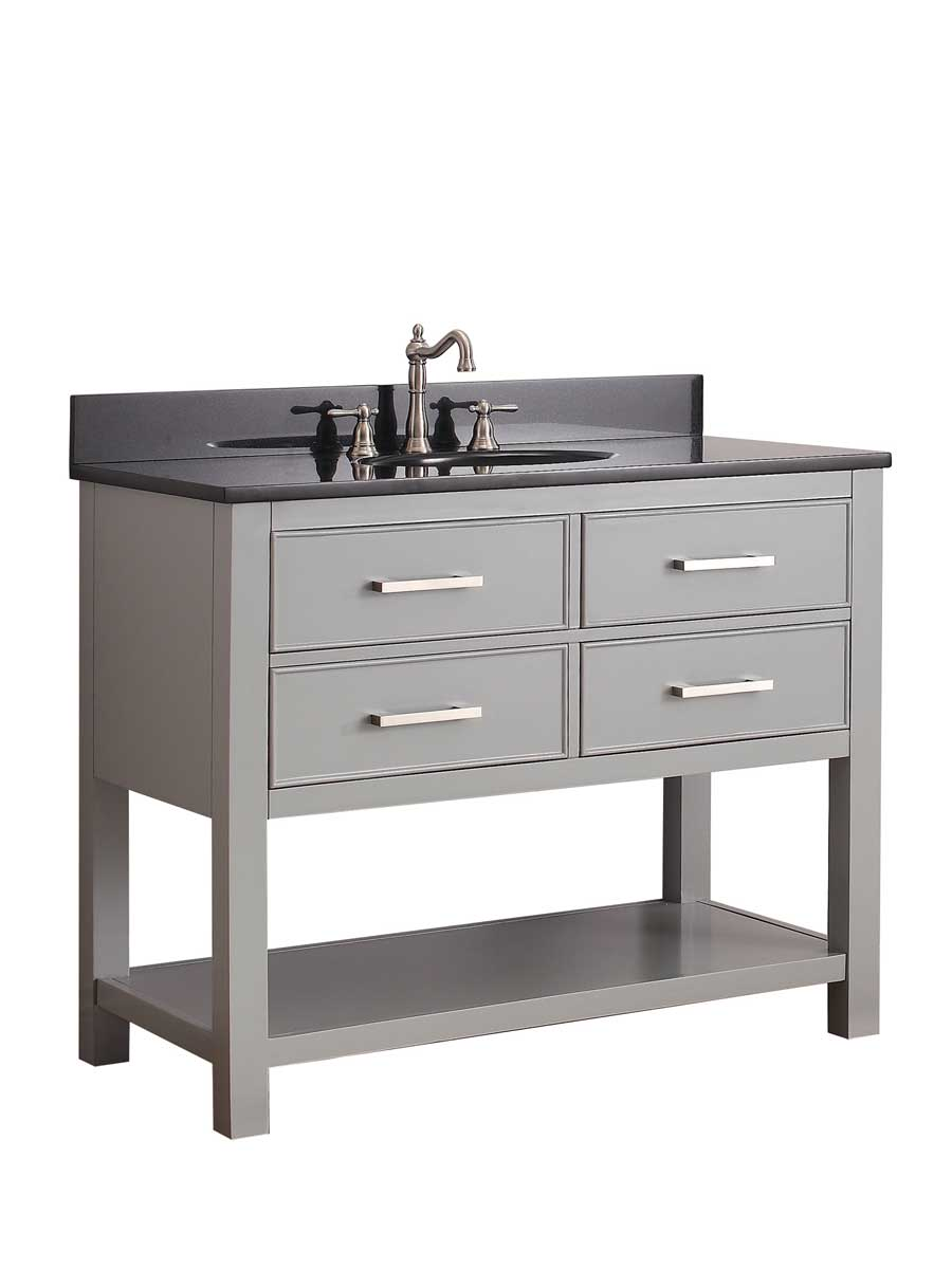 "43"" Begonia Single Bath Vanity - Chilled Gray - Chilled Gray with Black Granite Top"