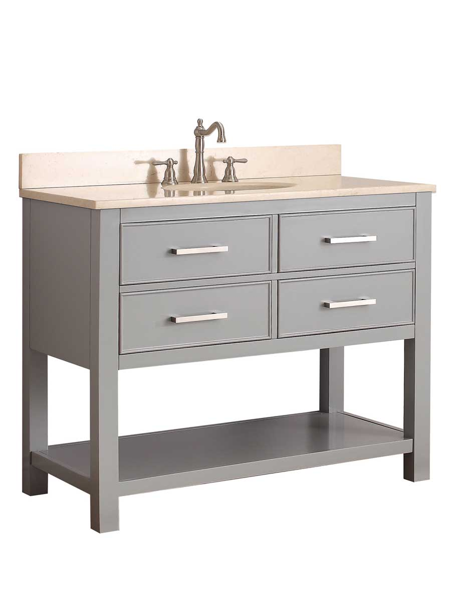 "43"" Begonia Single Bath Vanity - Chilled Gray - Chilled Gray with Galala Beige Marble Top"