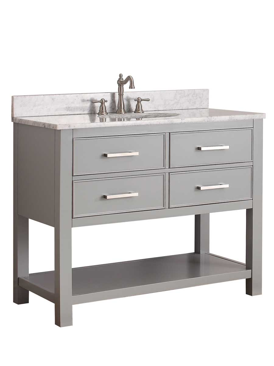 "43"" Begonia Single Bath Vanity - Chilled Gray - Chilled Gray with Carrara Chilled Gray Marble Top"