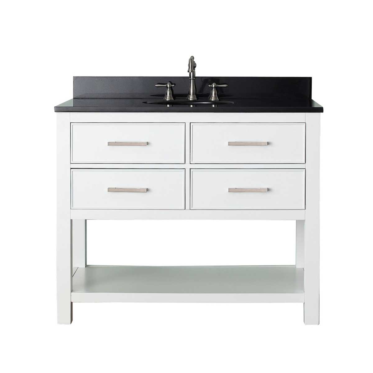 "31"" Begonia Single Bath Vanity - White - Chilled Gray with Black Granite Top"
