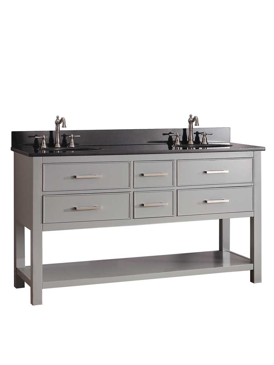 "61"" Begonia Single Bath Vanity - Chilled Gray - Chilled Gray with Black Granite Top"