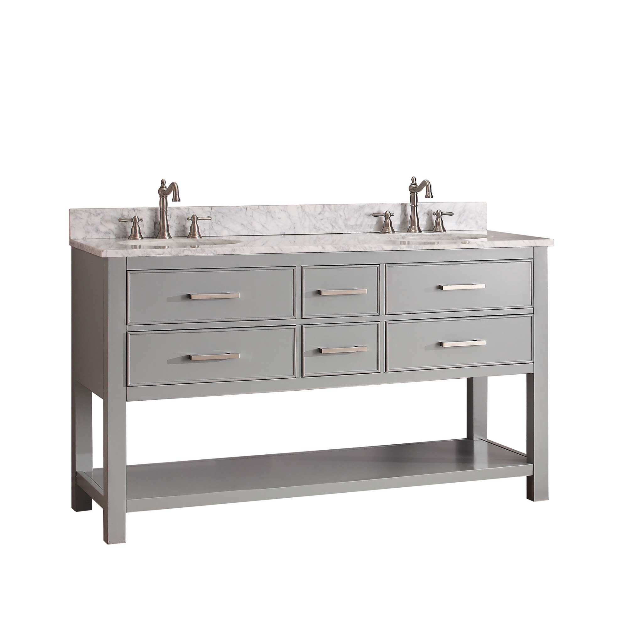 "61"" Begonia Single Bath Vanity - Chilled Gray - Chilled Gray with Carrara Chilled Gray Marble Top"