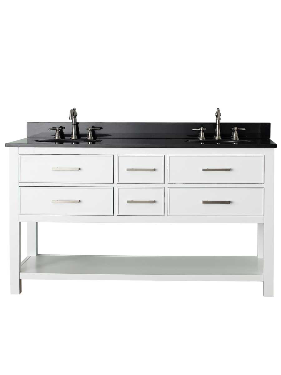 "61"" Begonia Single Bath Vanity - White - Chilled Gray with Black Granite Top"