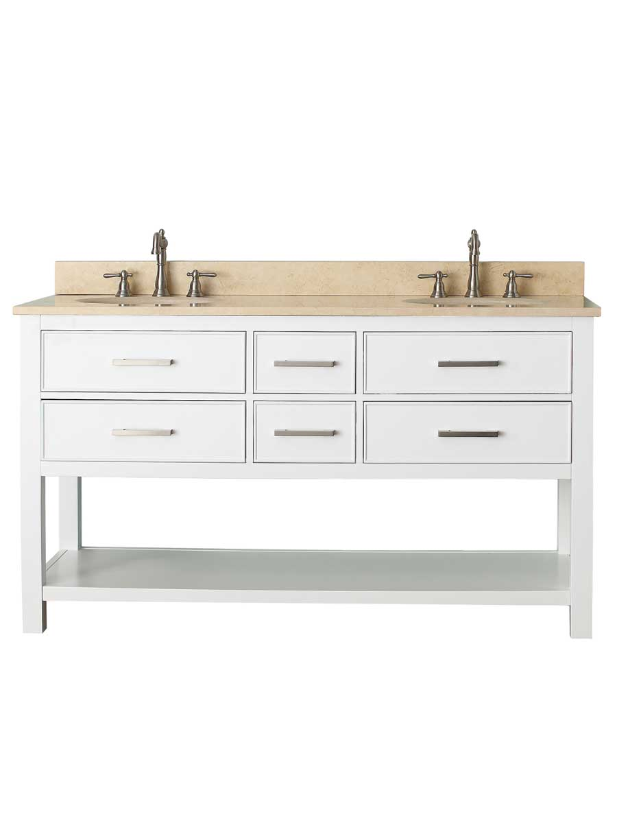 "61"" Begonia Single Bath Vanity - White - Chilled Gray with Galala Beige Marble Top"