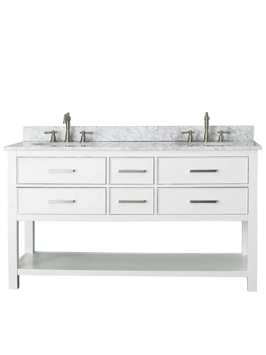"61"" Begonia Single Bath Vanity - White - Chilled Gray with Carrara Chilled Gray Marble Top"