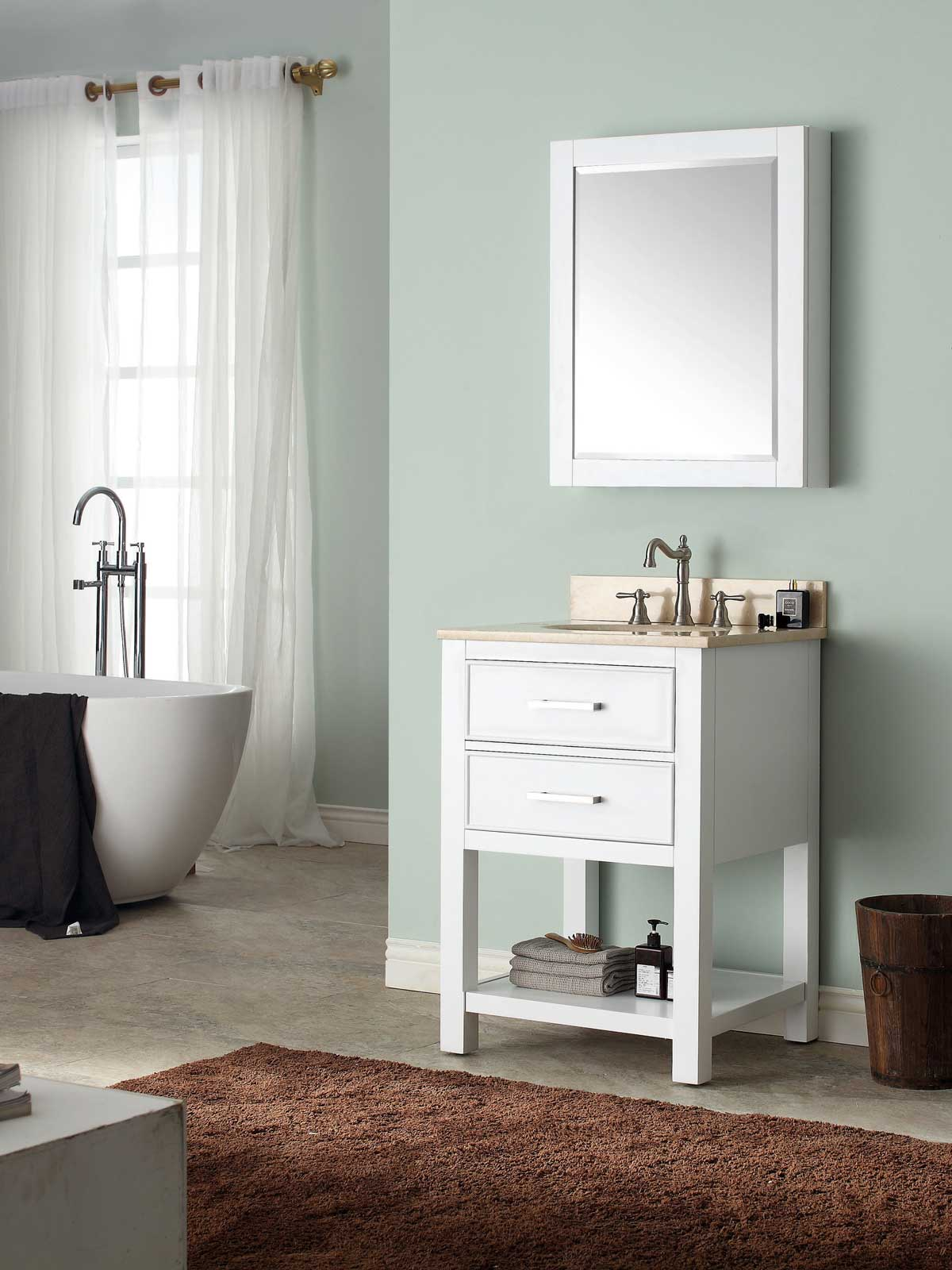 "25"" Begonia Single Bath Vanity - White with Galala Beige Marble Top"