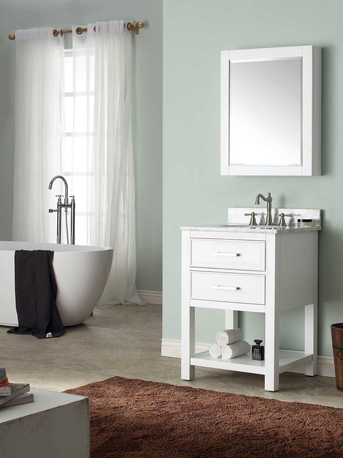 "25"" Begonia Single Bath Vanity - White with Carrara White Marble Top"