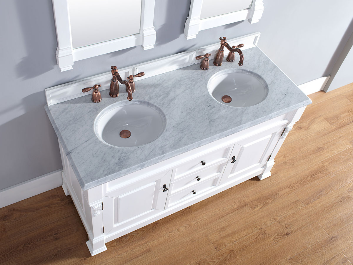 60 Peruga Double Sink Vanity Antique White Bathgems