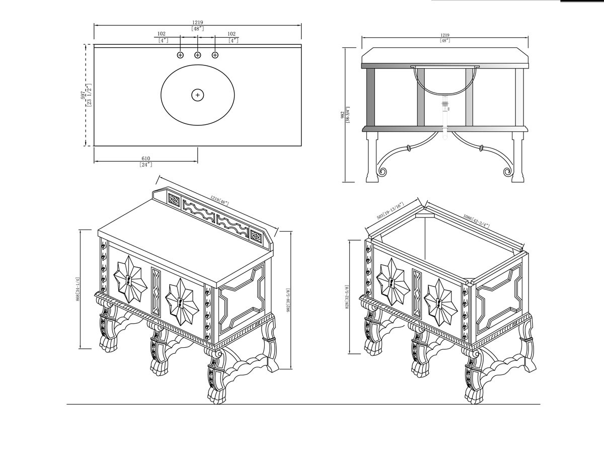 "48"" Balmoral Single Bath Vanity - Dimensions"