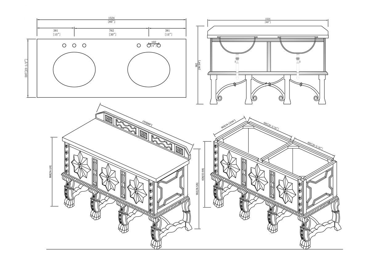 "60"" Balmoral Double Sink Vanity - Dimensions"
