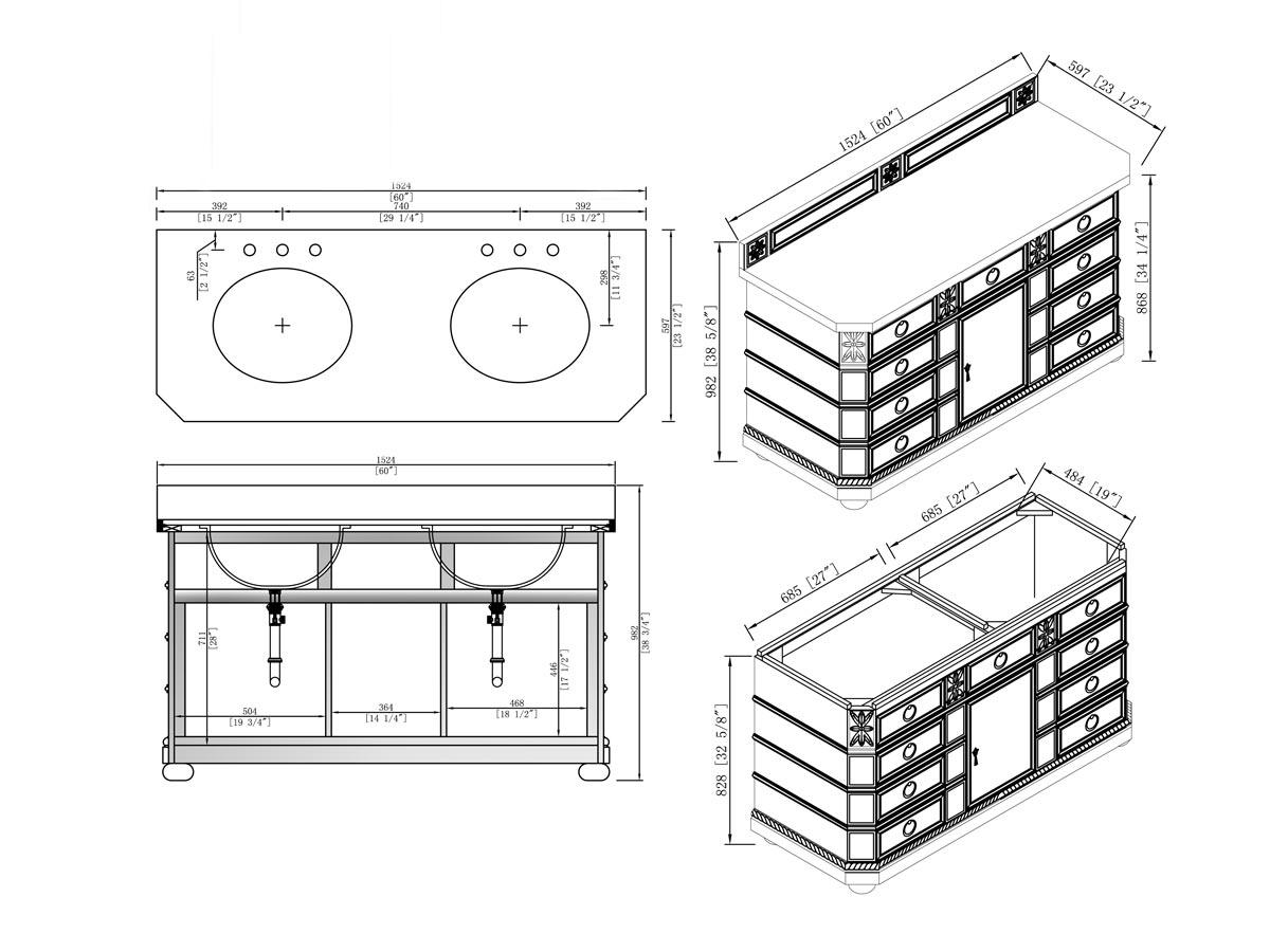 """60"""" Regent Double Sink Vanity - Dimensions"""