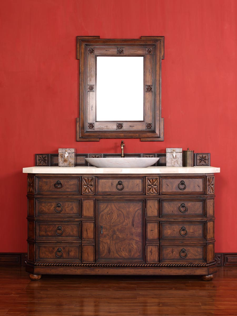 Shown with Galala Beige Marble Top (Vessel sink shown not included)