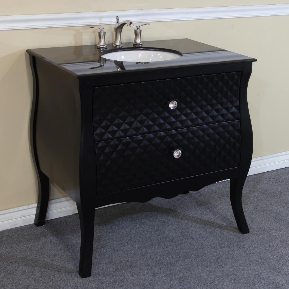 "35.4"" Celle Single Bath Vanity - With Black Granite Top"