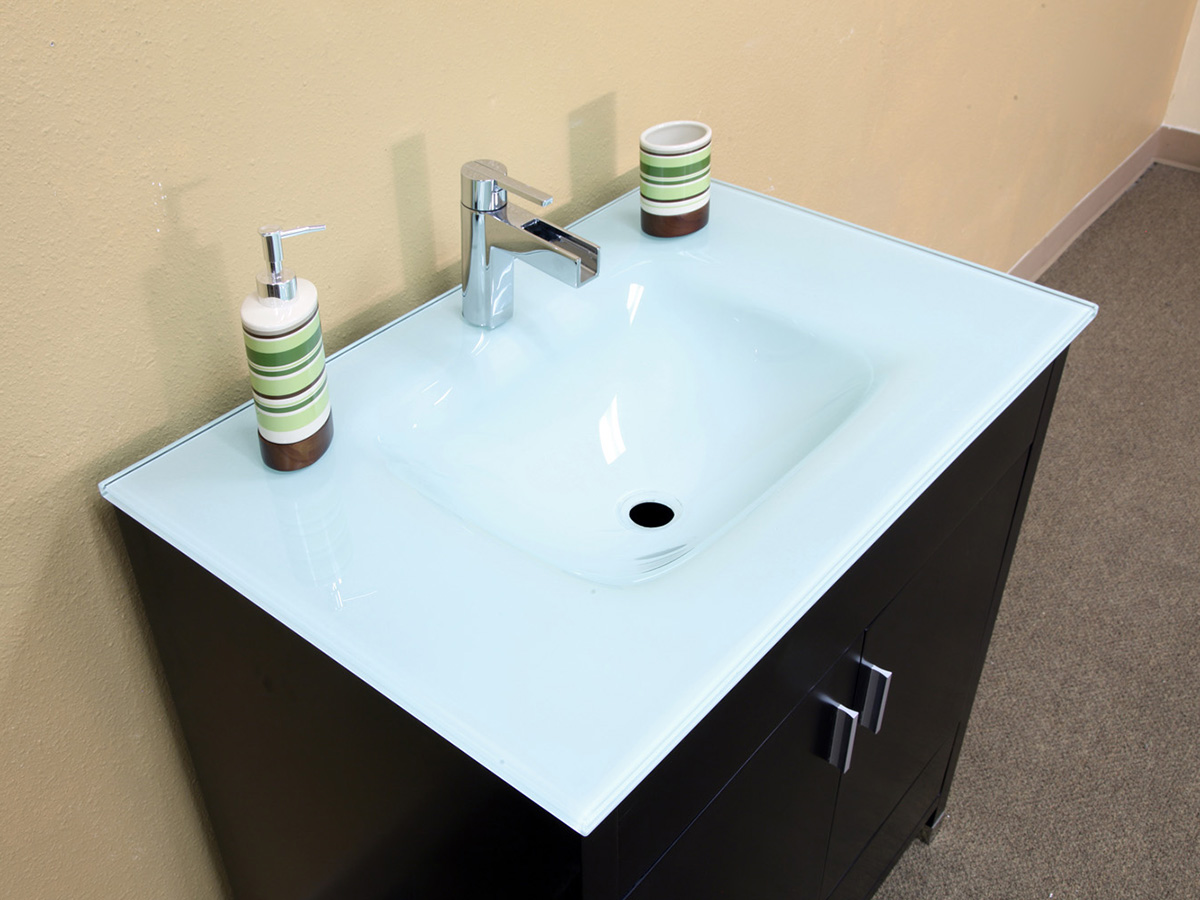 Tempered Glass Integrated Sink Top