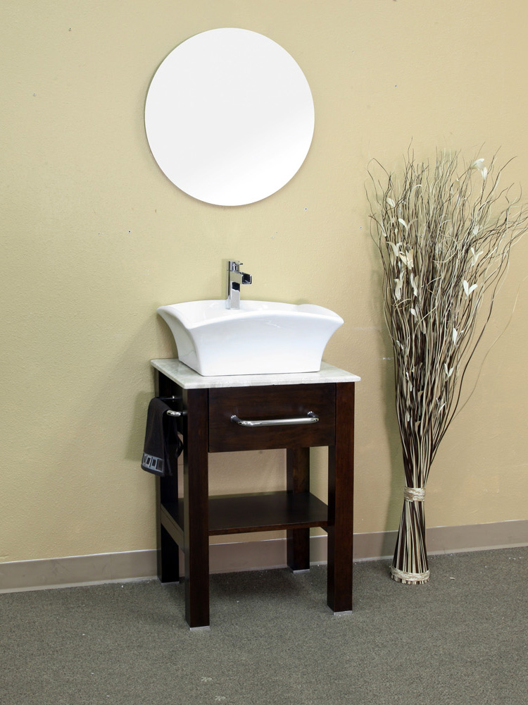 "24.2"" Clearwater Vessel Sink Vanity Shown With Optional Mirror"