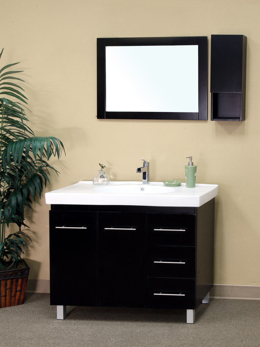 "39"" Altamira Single Bath Vanity in Black - Right Configuration"