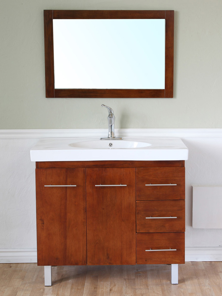 "39"" Altamira Single Bath Vanity in Walnut - Right Configuration"