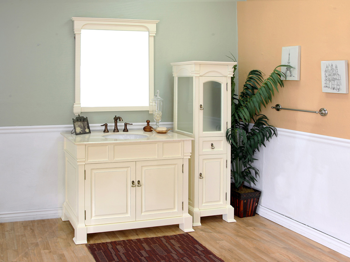 "42"" Helena Single Bath Vanity - Shown With Optional Mirror And Linen Cabinet"