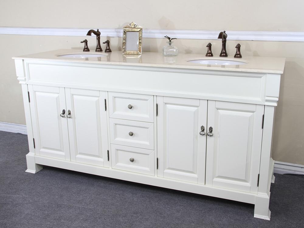 """72"""" Helena Double Sink Vanity in Cream White"""