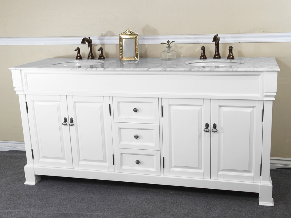 "Double Bathroom Sink Tops 72"" helena double sink vanity - white - bathgems"