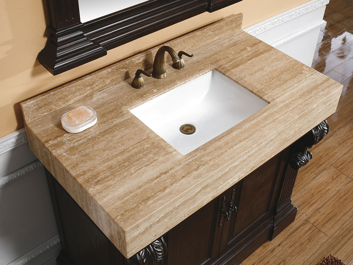 Travertine Top with Porcelain Sink