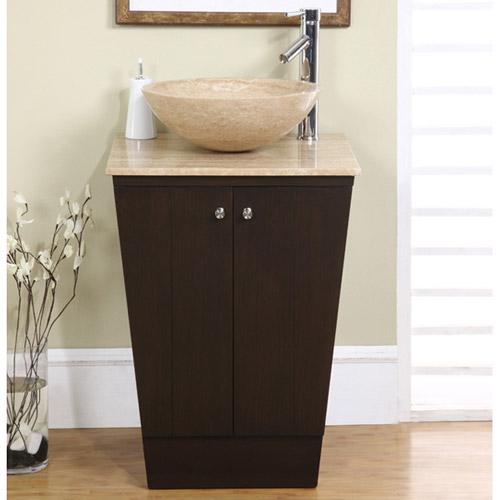 Sellano Vessel Sink Vanity shown with Travertine Sink (Optional)