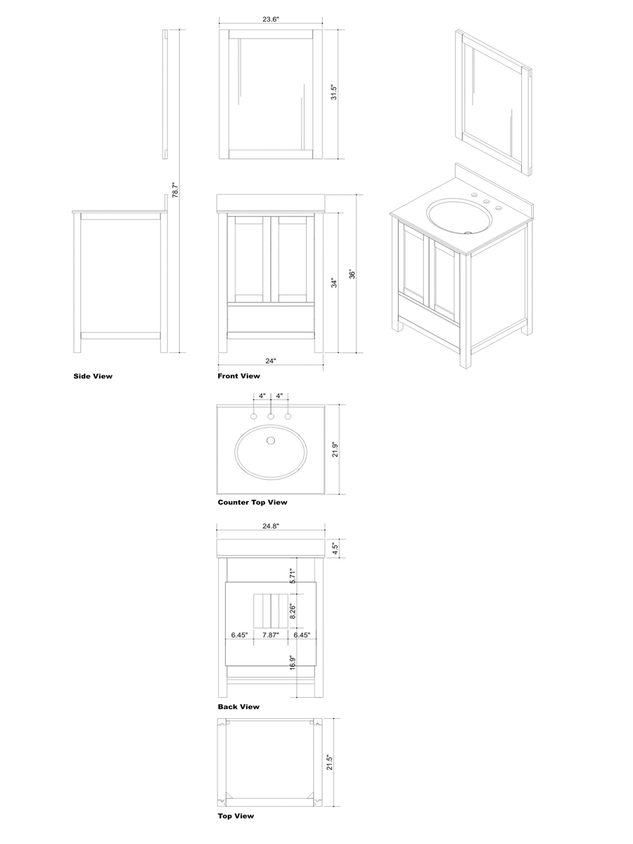 "25"" Caroline Avenue Single Vanity - Dimensions"