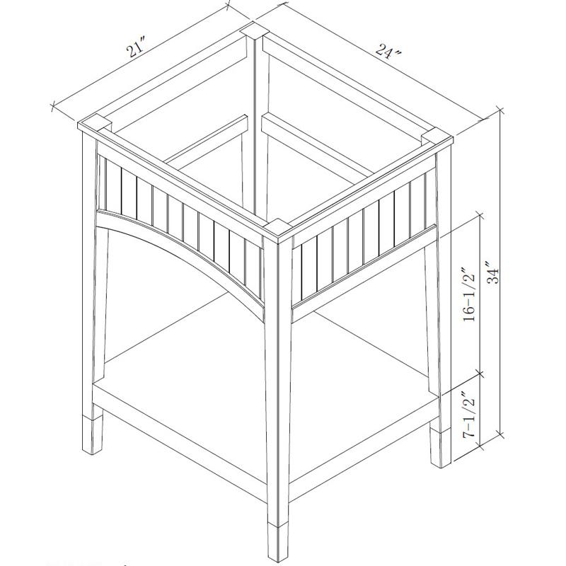 """24"""" Seaside Single Vanity - Dimensions"""