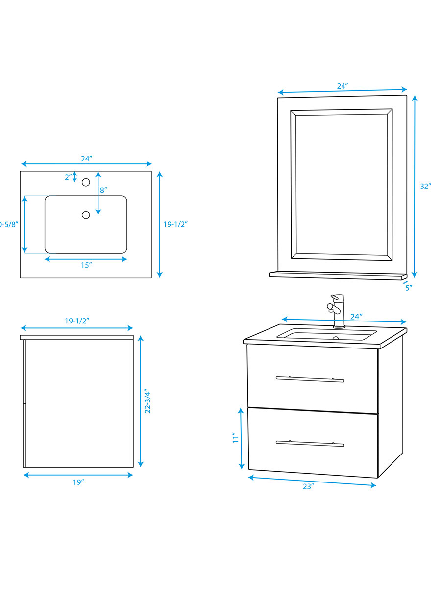 "24"" Zentra Single Vanity - Dimensions"
