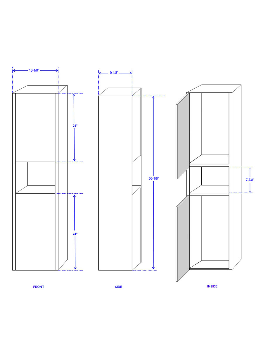 Optional Diana Wall Cabinet - Dimensions