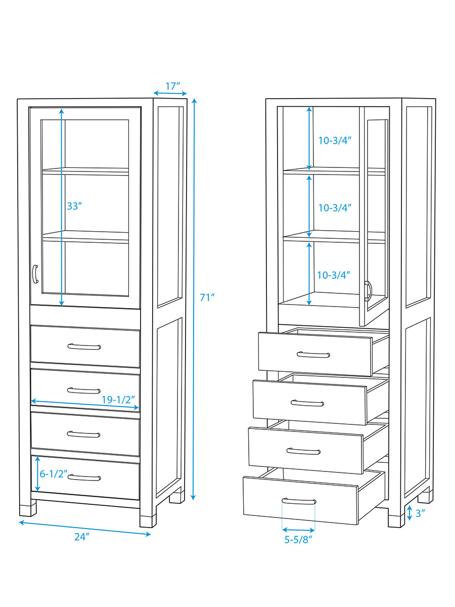 Optional Shaina Floor Cabinet - Dimensions