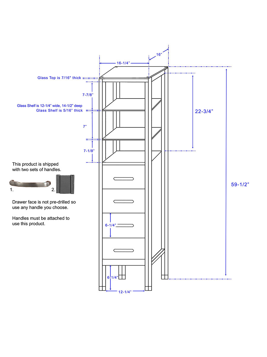 Optional Tavello Floor Cabinet - Dimensions