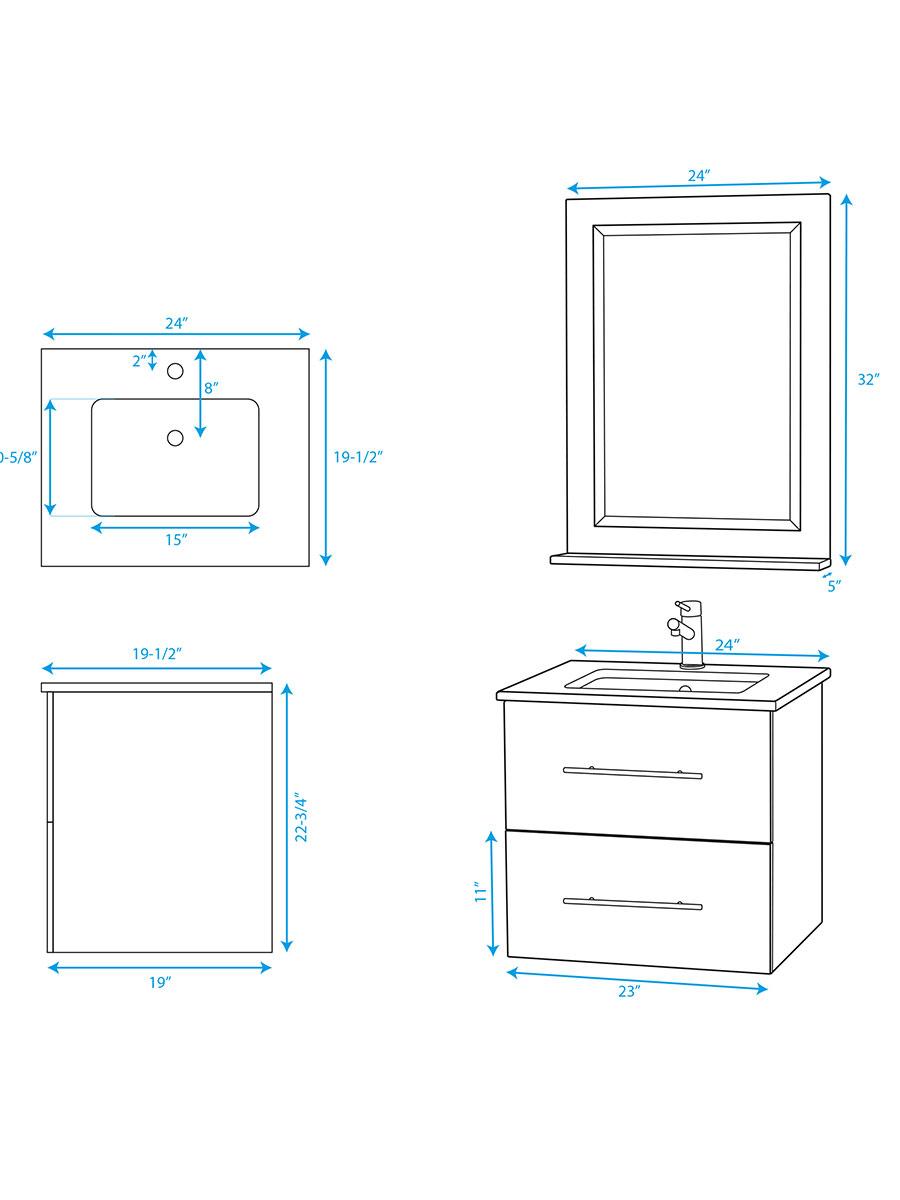 "24"" Zentra Single Vanity - Dimensions"