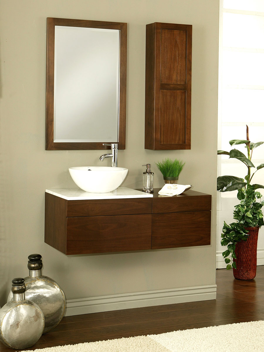 "24"" Modesta Walnut Wall-Mount Vanity - Shown with optional mirror"