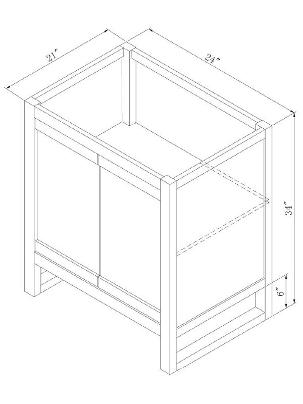 "24"" Lawton Single Vanity - Dimensions"