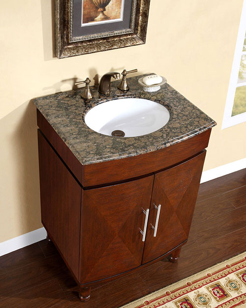 "26"" Alfano Single Bath Vanity - with Baltic Brown Granite Top"