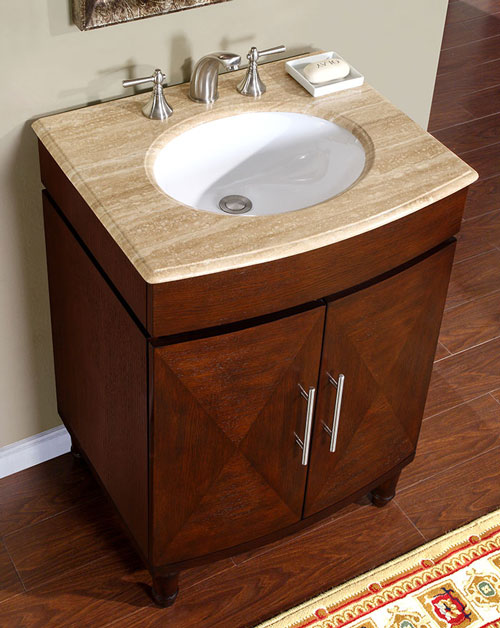 "26"" Alfano Single Bath Vanity - with Travertine Top"