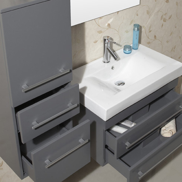 Drawers are equipped with soft-closing glides