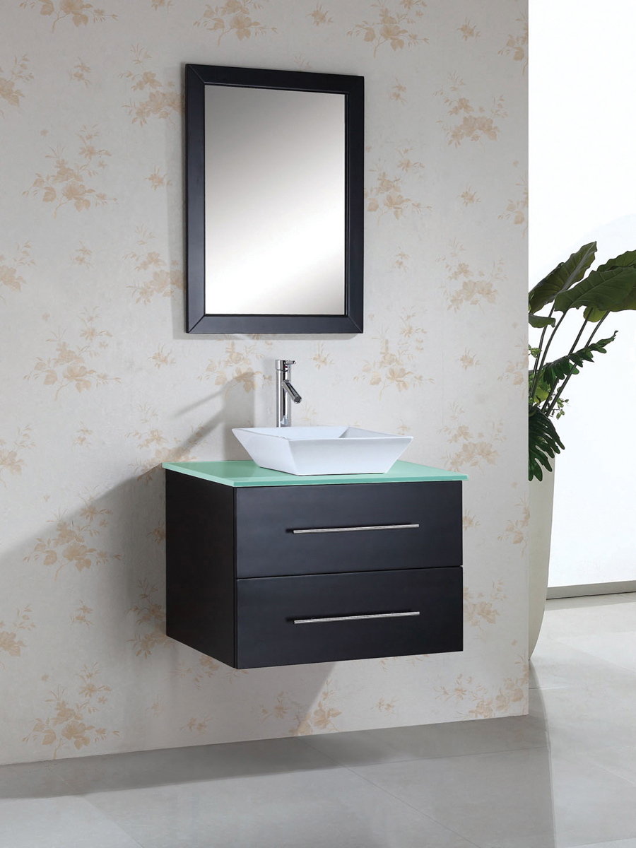 "29.5"" Marsala Single Vessel Sink Vanity - with Tempered Glass Top"