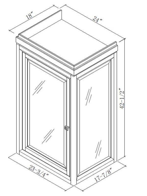 Optional Linen Cabinet (Hutch) - Dimensions