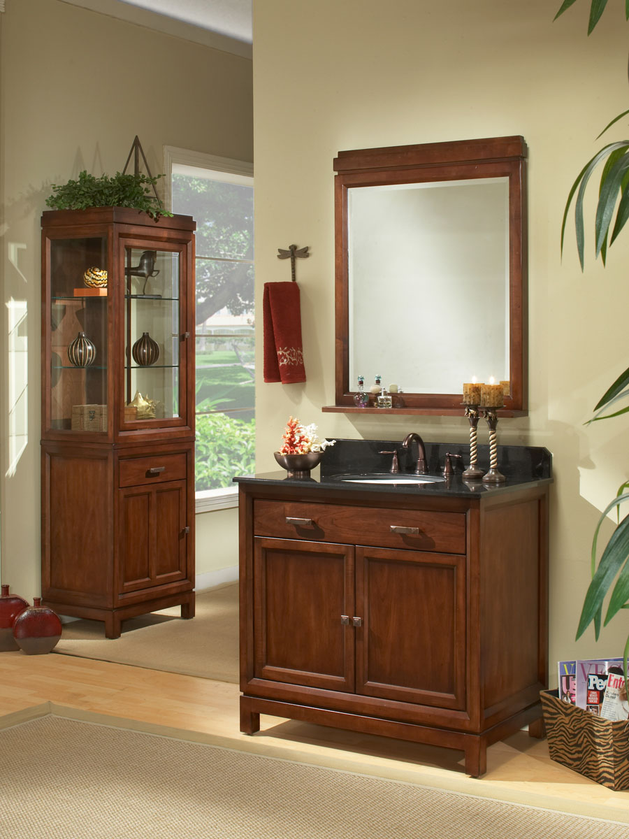 """30"""" Modena Single Vanity - shown with optional linen cabinet and mirror"""