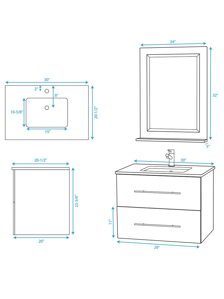 "30"" Zentra Single Vanity - Dimensions"