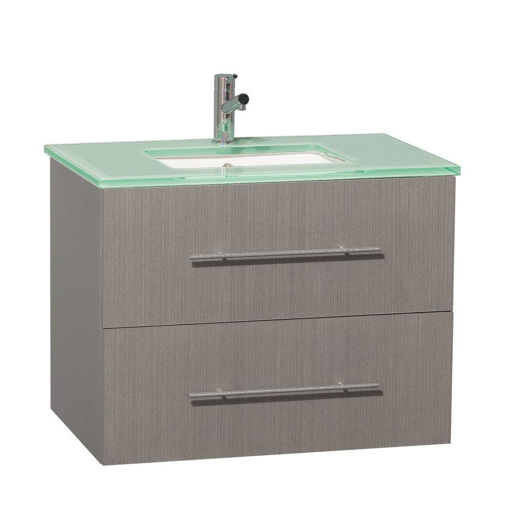 "30"" Zentra Single Vanity - Shown with Green Glass Top"
