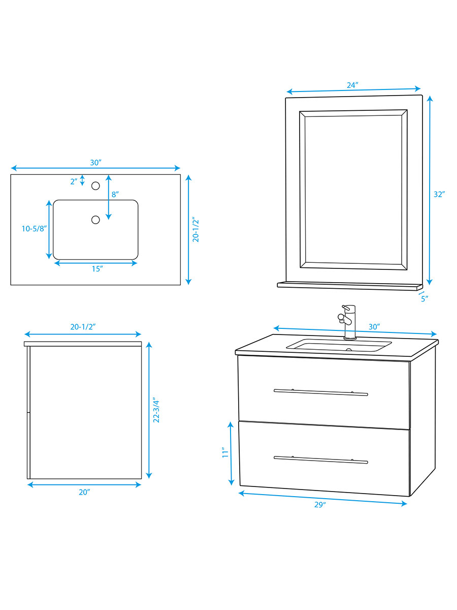 "30"" Zentra Single Vanity - Dimensions"