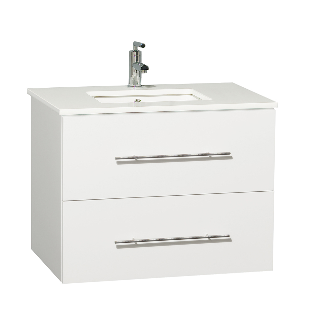 "30"" Zentra Single Vanity - Shown with Carrera White Marble Top"