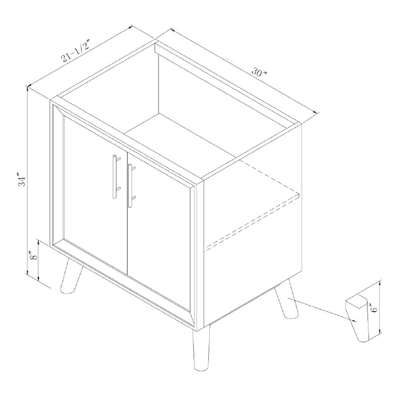 "30"" Eaton Single Vanity - Dimensions"