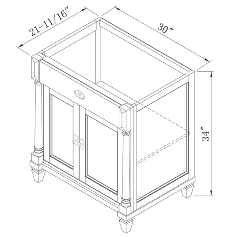 "30"" Regency Place Single Vanity - Dimensions"