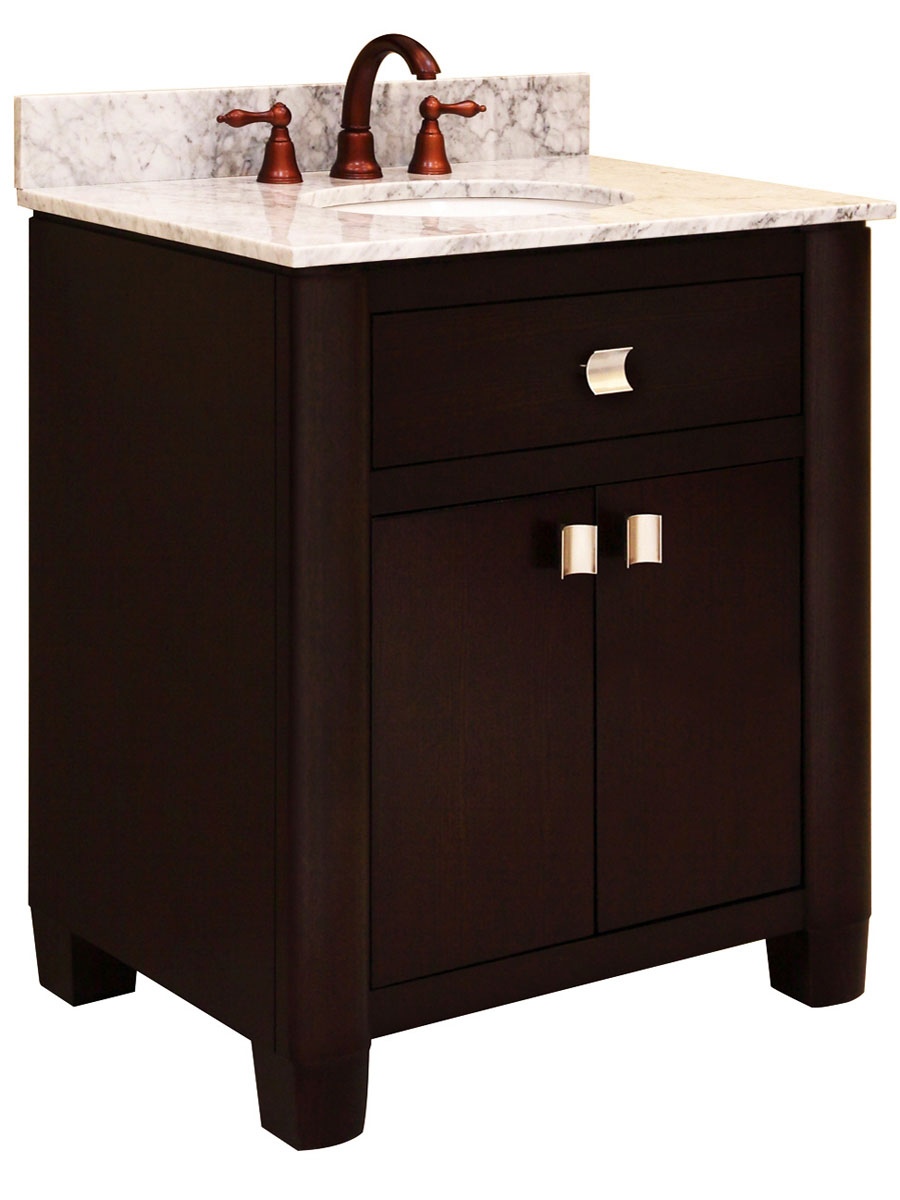 "30"" Portafino Single Vanity - shown with optional Carrera White marble top"